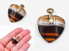 Antique Victorian Gold Filled Banded Agate Watch Fob Heart
