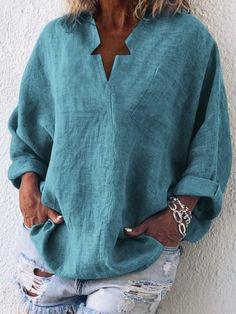 Casual Long Sleeve Cotton-Blend Plain Plus Size Blouses – chililook Casual Tops For Women, Blouses For Women, Cotton Blouses, Shirt Blouses, Cotton Linen, Collar Shirts, Cotton Shirts, Tunic Shirt, Shirt Dress