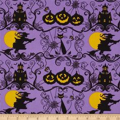 Horror Scope Witches & Cats Purple from @fabricdotcom  This cotton print is perfect for quilting, apparel and home decor accents.  Colors include purple, black and yellow.