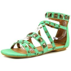 Michael Antonio Dave Women Gladiator Sandals ($9.99) ❤ liked on Polyvore featuring shoes, sandals, green, green sandals, greek gladiator sandals, long gladiator sandals, gladiator sandals and roman sandals