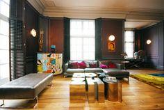 2nd floor update ideas - dark walls, lighter wood flooring, moulding