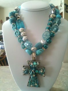 Turquoise, Chunky Cowgirl Necklace, Custom, One of a kind. $45.00, via Etsy.love this