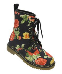 Toddler size 10 and up -Black Floral Welma Boot by Yokids on #zulily today!
