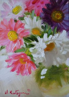 Asters in a Vase by Elena Katsyura Oil ~ 7 x 5