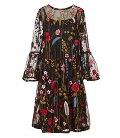 30e01f69bb6a GB Girls Little Girls 46X FloralEmbroidered Mesh Dress #Dillards