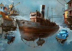 Universo Chatarra - Mañana en el puerto - (Photoshop)