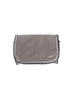 Smooth grey shiny synthetic chain bag