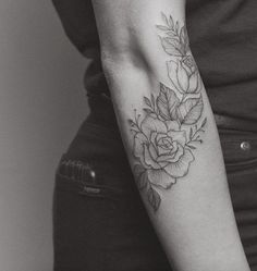 Fine+line+roses+by+Tritoan+Ly Tattoos, Flowers, Florals, Floral, Tat, Tattoo, Tattooed Guys, Flower, Blossoms