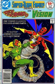 Super-Team Family: The Lost Issues!: Red Tornado and The Vision. I wish this was real! Comic Book Characters, Comic Book Heroes, Marvel Characters, Comic Character, Comic Books Art, Comic Art, Dc Comics Art, Anime Comics, Gi Joe