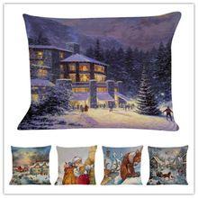 Capa de Almofada de natal Papai Noel Padrão Quadrado Fronha Sofa Home Cojines Almofadas Almofadas Decorativas de Natal(China)