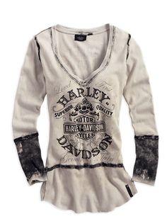 Harley-Davidson® Women's Black Label Washed Out Creme Long Sleeve Shirt 96200-14VW | MonsterMarketplace.com