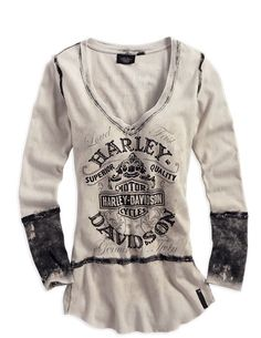 "Harley-Davidson® Women's Black Label Washed Out Creme Long Sleeve Shirt 96200-14VW | <a href=""http://MonsterMarketplace.com"" rel=""nofollow"" target=""_blank"">MonsterMarketplac...</a>"