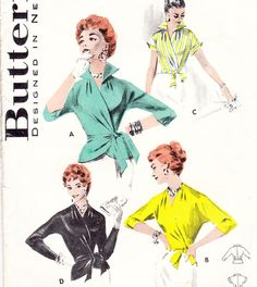 Vintage 1950s wrap blouse pattern - Butterick 7640.