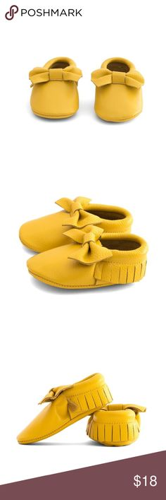 MAC&LOU BOW BABY LEATHER MOCCASINS YELLOW MAC&LOU BOW BABY LEATHER MOCCASINS YELLOW SUBMARINE MAC&LOU Shoes Moccasins