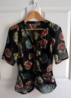 ANTHROPOLOGIE MAPLE sz 4 FLORAL BREEZE black silk floral zip down blouse EUC #Anthropologie #Blouse