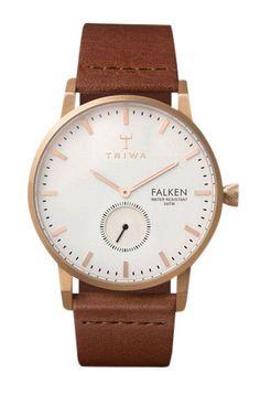 Dame ur med brun læderrem