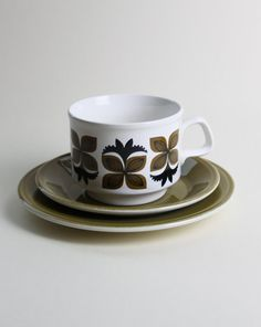 Abstract Olive Green Black Flower Cup Saucer and Side Plate Staffordshire Pottery Made in England