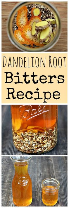 Make your own homemade bitters with dandelion root, orange peel, and ginger. Great for digestion or a fancy cocktail!