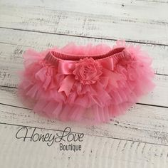 Coral Pink tutu skirt bloomers diaper cover, embellished coral shabby flower, ruffles all around, newborn infant toddler little baby girl by HoneyLove Boutique