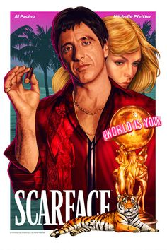 Iconic Movie Posters, Movie Poster Art, Iconic Movies, Classic Movies, Good Movies, Film Scarface, Scarface Poster, Al Pacino Michelle Pfeiffer, Ps Wallpaper