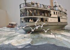 Stern starboard view showing seagulls arranged in flight formation on the wood-carved diorama S. Woods Hole, Steamboats, Ship Art, Model Ships, Custom Paint, Types Of Wood, Vignettes, New England, Military