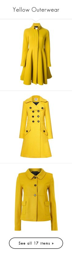 """""""Yellow Outerwear"""" by arbbednnyl ❤ liked on Polyvore featuring outerwear, coats, jackets, coats & jackets, yellow coat, gianluca capannolo, long sleeve coat, wool blend coat, stand collar coat and lichen"""