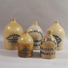 Five Cobalt-decorated Advertising Stoneware Jugs