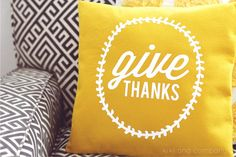 Thanksgiving DIY Give Thanks Pillow made with Cricut Explore -- Kiki and Company. #DesignSpaceStar Round 4