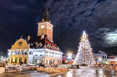 Photo about Brasov, Romania. Council Square and Xmas Tre. Historical medieval old city center square of Brasov in Christmas days. Image of claus, architectural, clocktower - 37709471 Christmas Destinations, Travel Destinations, Travel Europe, Christmas In Europe, European Destination, Christmas Images, Christmas Tree, Christmas Ideas, Beautiful Buildings