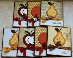 "Recipe:  - Martha Stewart Seasonal Cake cartridge pg. 62 - 2 3/4"" cake pumpkin Preserves cartridge pg. 26 - 3 1/4"" pear - 3"" apple pg.27 - Standard A2 sized card-cardstock from PTI"