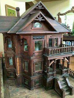 RARE Victorian Dollhouse Mansion Primitive LARGE Wood 53 Windows 3 Floors in Dolls & Bears, Dollhouse Miniatures, Doll Houses Victorian Dollhouse, Haunted Dollhouse, Victorian Dolls, Dollhouse Dolls, Dollhouse Miniatures, Vintage Dollhouse, Victorian Era, Victorian Houses, Victorian Kids Toys