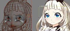 3d anime face mesh topology tears