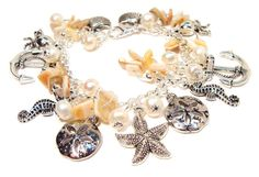 Beach and Ocean Charm and  Seashell Bracelet by GirlieGals on Etsy, $42.00