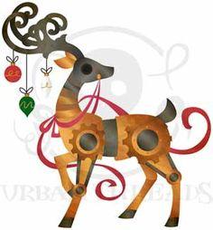 Clockwork Reindeer design (UTC2806) from UrbanThreads.com