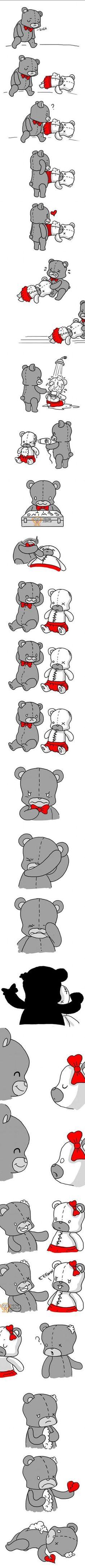 Amoroso pero Doloroso mini cuento de Amor de dos osos de peluches que se conocen. Uno trata de ayudar al otro que estaba lastimado y le entrega todo, pero el otro oso de peluche lo lastima, haciéndolo sufrir la misma historia por la cual pasó a quien rescató.  http://yeow.com.ar/?p=1644