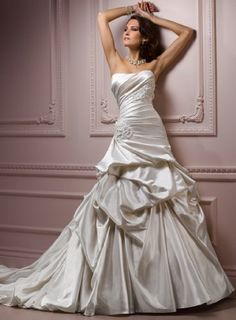 White Satin Wedding Gown with Beaded Flowers