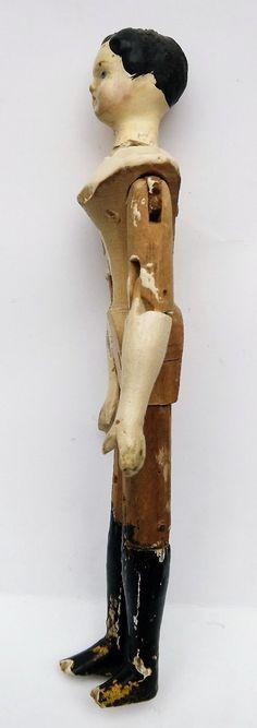 RARE Antique Wooden Peg Doll Chimney Sweep Wood Peg Doll | eBay