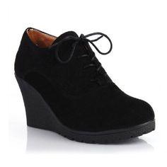 Solid Black Wedge Heels