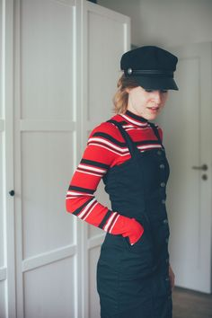 #pinafore #overall #dress #hats #outfit #look #red
