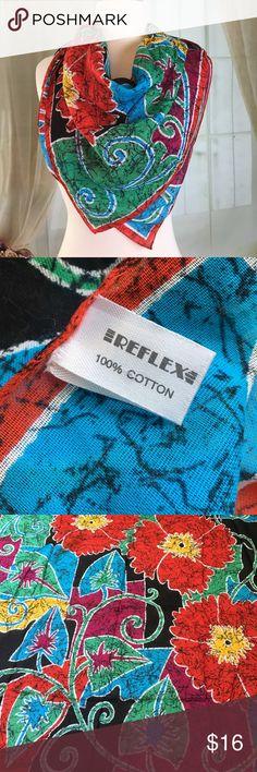 """Reflex 100% Cotton Multi Colored Square Scarf Beautiful multicolored square scarf. 100% cotton. Made in Italy. New condition. Size 30"""" x 30"""".  AS6 Reflex Accessories Scarves & Wraps"""