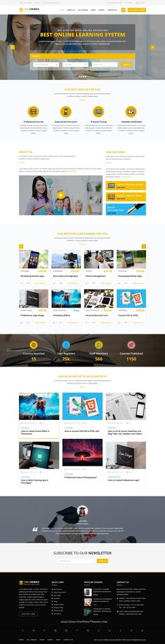 Edu-Courses is clean and modern design #PSD template for online #education and #LMS learning management system website with 18+ layered PSD pages to live preview & download click on Visit