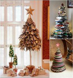 fabriquer un sapin de Noël en papier-livres-empiles-assiettes-carton