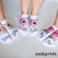 Our beautiful watercolor floral socks are a nice gift for your Big, Little and G-Big family! Sold by the pair, our 1/2 cushion no-show socks are comfy and pretty! Each pair sold individually.