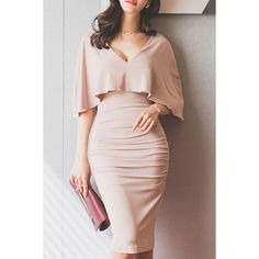 Wholesale Stylish Plunging Neck Ruched Bodycon Cape Dress For Women Only $7.74 Drop Shipping | TrendsGal.com
