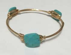 Bangles, Bracelets- Size Medium, Gold Tone Wire Wrapped Bangle/ Bracelet with Natural Turquoise Howlite Stones By CEA Creations by CEACreations on Etsy