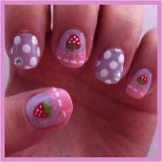 strawberry, lace, polka dot nails, nail art
