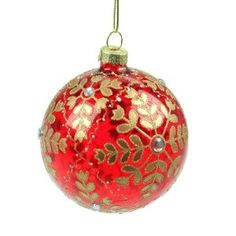 Red Glass & Gold Snowflake Christmas Bauble (8cm): Amazon.co.uk: Kitchen & Home