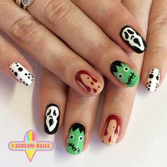 """iscreamnails: """"Perfect Halloween nails  We've got a few apts available in Sydney today! #nailart #melbournenailart #iscreamnails """""""