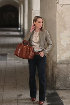 jeans - Jake's / belt - H / blouse - Mango / blazer - H / booties - Deichmann / bag - Prada / earrings - Dyrberg Kern / watch - Burberry / ring - LookbookStore / bracelet - Swarovski Country Girls, Louis Vuitton Speedy Bag, Madewell, Burberry, Prada, Booty, Blazer, Tote Bag, Elegant