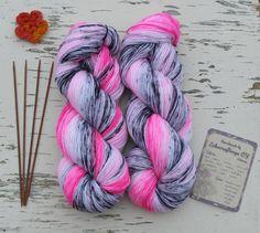crochet shawl yarn, knit boot cuffs yarn, knee socks wool yarn, echocraftings, Pink wool sock yarn, long gradient colors, DK 8 ply wool, wool crochet yarn, Colored nylon, sock yarn, ombre color change, black white pink, hand dyed sock yarn https://www.etsy.com/listing/513254227/pink-wool-sock-yarn-colored-nylon-sock